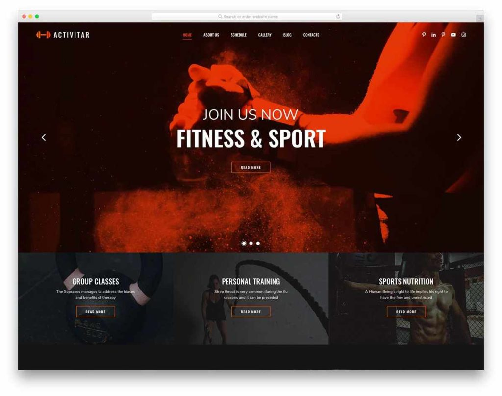 Free Gym Business Theme