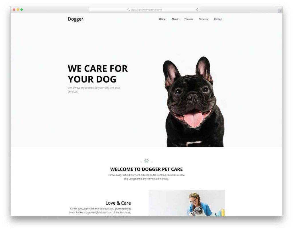 Free Pet Care Website Template