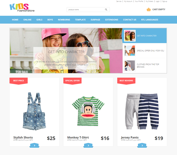 Free Kids Joomla template ecommerce